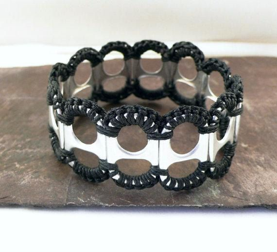 Recycled Pop Tab and Crochet Bracelet in Black by StellaStory