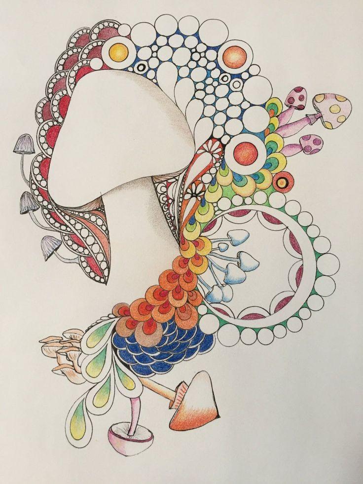 zentangle mushroom art, zentangle art,mushroom art,colored zentangle,wall art,ink colored pencils,