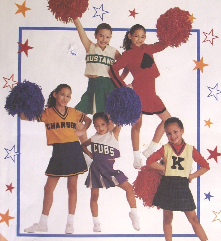 Girls Cheerleader Costumes Sewing Pattern Uniforms Outfits McCalls 2849 Size 7 M Tops & Skirts Uncut Factory Folded Sleeveless Short Sleeve by AdriennesAtticStore on Etsy