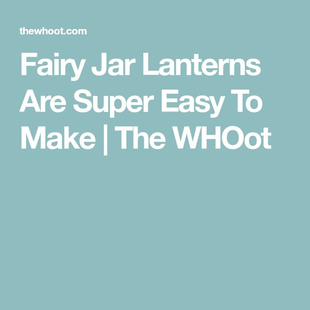 fairy jars how to make