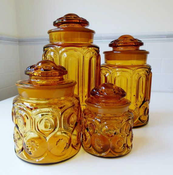 Amber Glass LE Smith Moon & Stars, Kitchen Cannisters, Set of Four on Etsy, $60.00