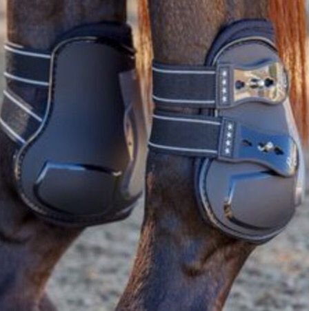 Horse Black English Close Contact All Purpose Open Front Jump Boots Cross Country Show Jumping Hunter