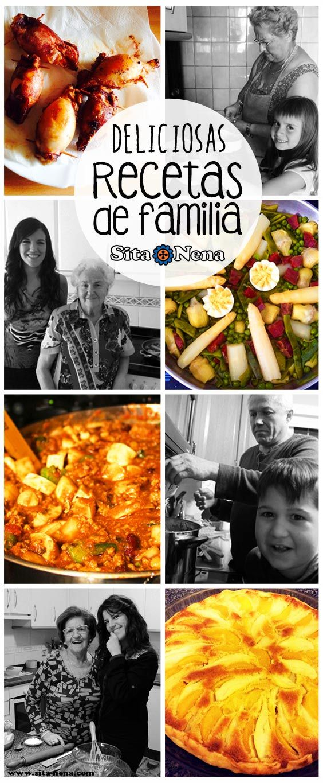 RECETAS TRADICIONALES ***Chipirones rellenos receta de la Abuela María & su nieta Katrina ***Menestra receta de la Abuela Dolores & su nieta Itoitz ***Chilli con carne receta del Abuelo Tony & su nieto Nolan ***Tarta de pera y melocotón receta de la Abuela Maruja & su nieta Eila. Recetas + opción vegana en www.sita-nena.com / recetas de familia / #sitanena