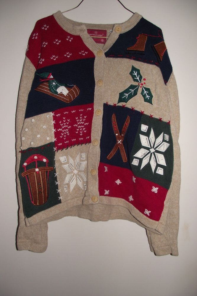 Holiday Lodge by North Crest Womens Ugly Christmas Sweater Size Small  Sleds Sno #Northcrest #ButtonUp #Christmas