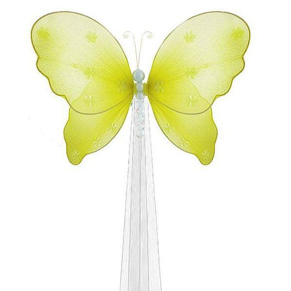 Butterfly DRAPERY TIE BACK - yellow Isabella butterflies - curtain tieback holdback baby nursery room decor girls room decoration sheers