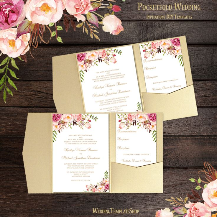 print yourself wedding invitations kit%0A Pocket Fold Wedding Invitations Romantic Blossoms