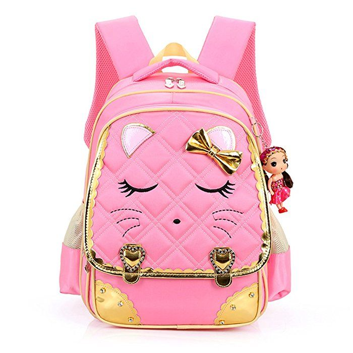 3029937a9c8e29 Amazon.com | Hyundly Cute Cat Face Bowknot Teen Girls School Backpacks For  Primary School Bookbag And Outdoor Traveling Daypack (Medium, pink) | Kids'  ...