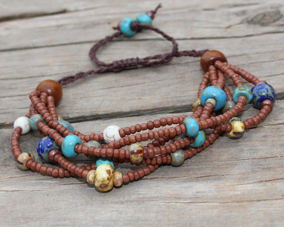 Earthy Beaded Bracelet  Tribal Bracelet  Seed Beads