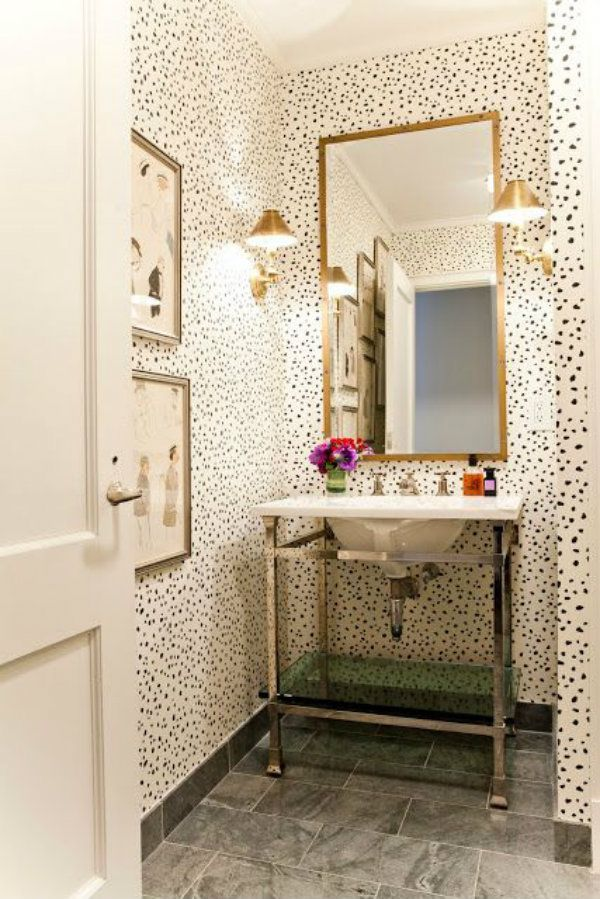 spotted wallpaper powder room
