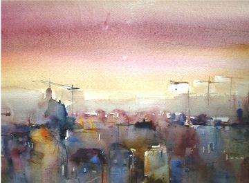 tramonto in città acquerello 30 x 40