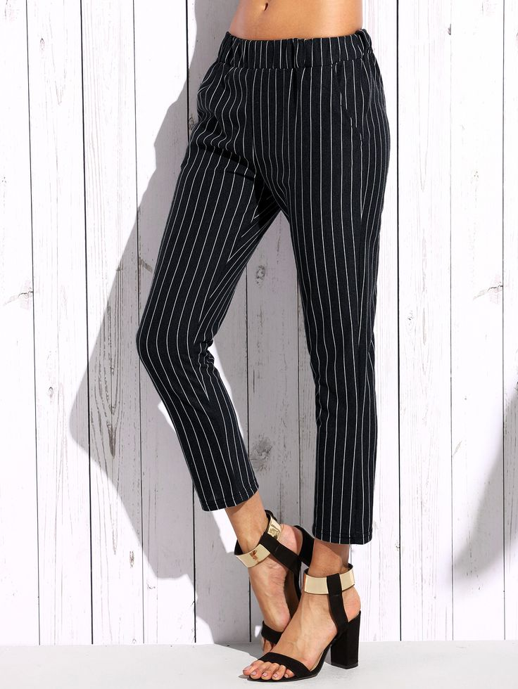 Shop Black Vertical Striped Elastic Waist Pants online. SheIn offers Black Vertical Striped Elastic Waist Pants & more to fit your fashionable needs.