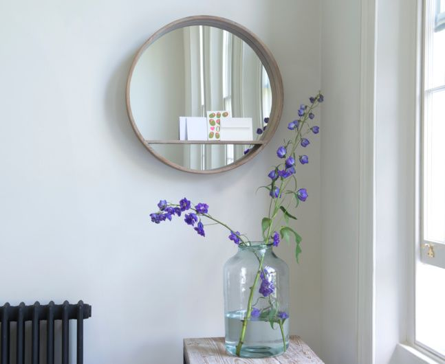 We love the Hula mirror. It's a gorgeous circular mirror with a beached timber finish and a really handy shelf! Why don't more mirrors have shelves?