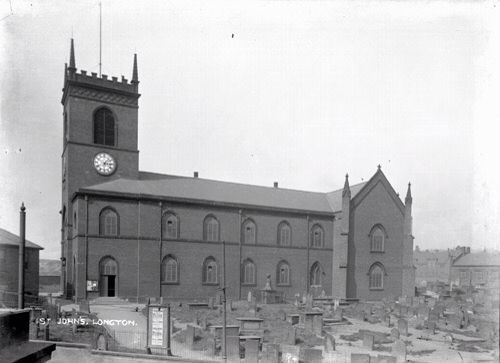 St Johns Church, Longton. This building has now been demolished and St James Chuch became SS James & John. Photo by William Blake
