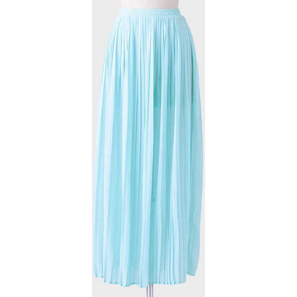 Ruche Beau Vallon Pleated Maxi Skirt ($30) ❤ liked on Polyvore featuring skirts, light blue, long chiffon maxi skirt, maxi skirts, light blue skirts, pleated skirts and pleated chiffon maxi skirt