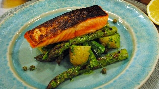 Salmon with salsa verde and asparagus