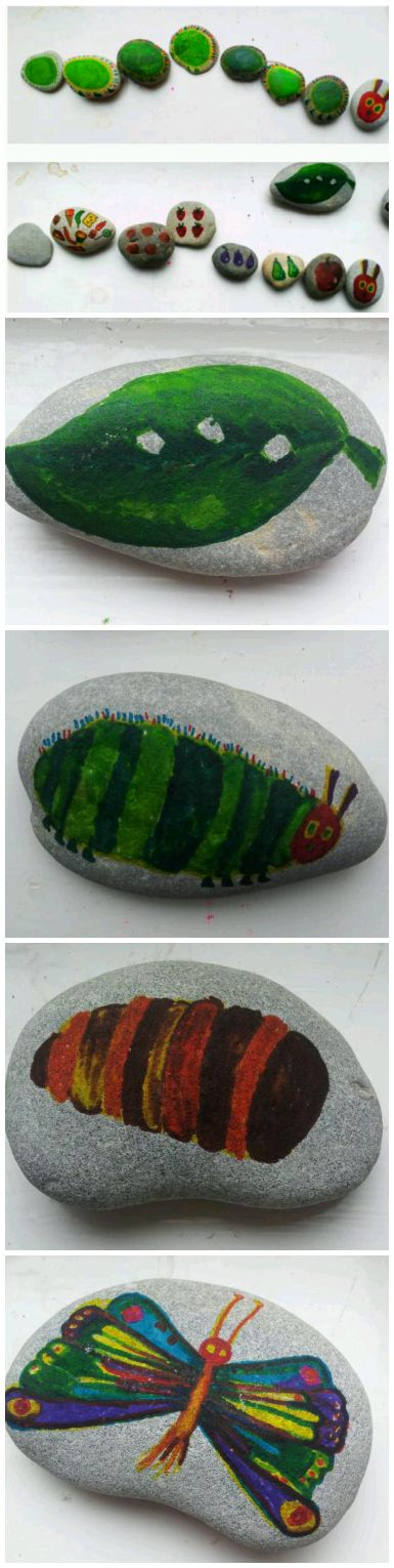 The very hungry caterpillar story telling stones. What a great activity would this make for! ~Little Worlds~  #storytelling #veryhungrycaterpillar