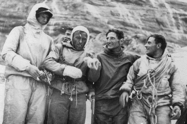 Eiger - First Ascent to the Nord Face - July 24, 1938 by Anderl Heckmair, Ludwig Vörg, Heinrich Harrer and Fritz Kasparek in a German–Austrian party.