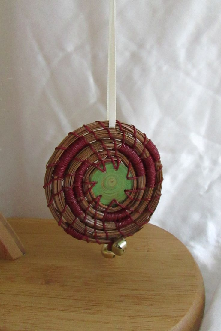 Pine Needle Christmas Ornament, Green center, Country Red Wax Linen Thread, Shellac, Ready to ship, Holiday Ornament by KandApineneedlebskt on Etsy