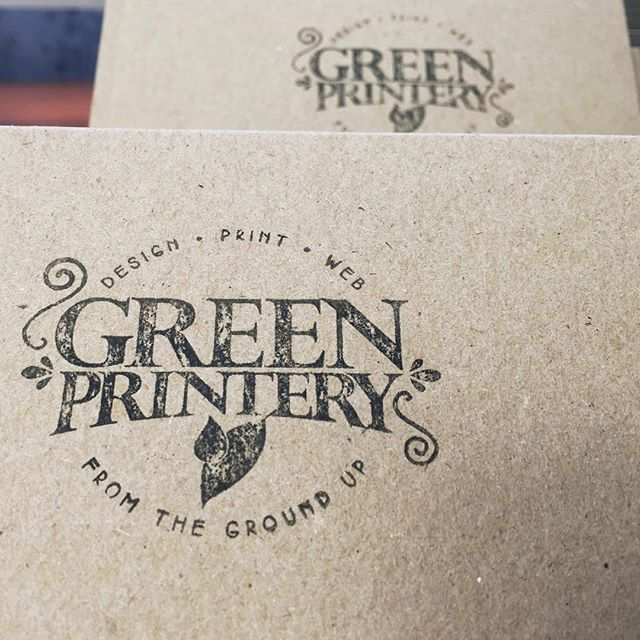 We love the look of stamps - a little rough around the edges but perfect for that extra personal touch. They come in a huge variety of sizes self-inking and not (this one is a 60mm circle rubber on a wooden handle with separate ink pad, stamped onto 100% Australian recycled Enviroboard 335gsm)  #greenprintery #stamp #rubberstamp #selfinking #printing