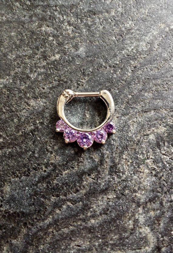 SALE  Purple Crystal Clicker Septum Piercing by FeatherBlueJewelry