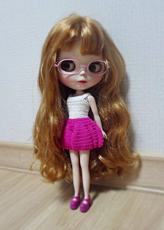 blythe overalls crochet doll clothes hot pink