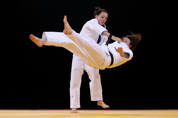 Sally Conway and Megan Fletcher of Great Britain in action during training prior to the London 2012 Olympic Judo test event at the ExCel on December 2, 2011 in London, England.