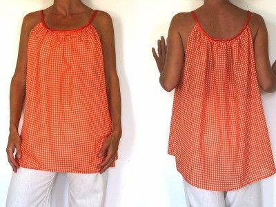 Patron de couture et vidéo du cours de couture à télécharger - Tunique vichy orange