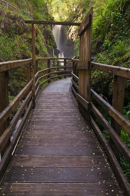 Waterfall walkway at Glenariff Forest Park, Co Antrim, Northern Ireland (by…