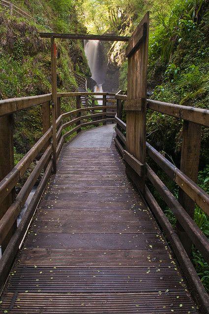 Waterfall walkway at Glenariff Forest Park, Co Antrim, Northern Ireland (by Strabanephotos).