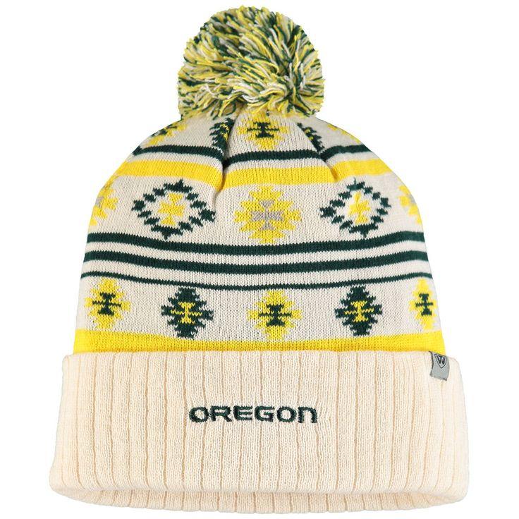 Women's Top of the World Cream Oregon Ducks Aztech Cuffed Pom Knit Hat