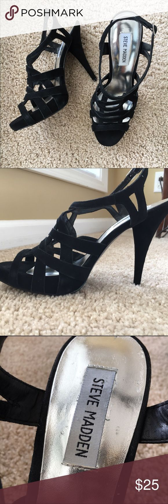 "Steve Madden Suede Heels 👀!! Sexy. 5"" Heels with approx 3/4"" platform. They have never been worn outdoors. I saw that Tyra Banks cross hatched the bottoms of hers for traction so I did too. 😜 One of the shoes is just a tiny bit sticky due to sticker removal (pic). Steve Madden Shoes Heels"