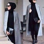 gray coat elegant hijab