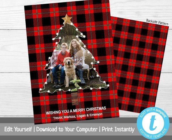 Buffalo Plaid Christmas Card With Photo Photo Christmas Tree Etsy Plaid Christmas Card Buffalo Plaid Christmas Card Red Plaid Christmas Card