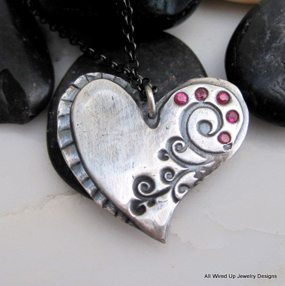 Sterling and Ruby Heart Pendant by PPennee on Etsy, $68.00