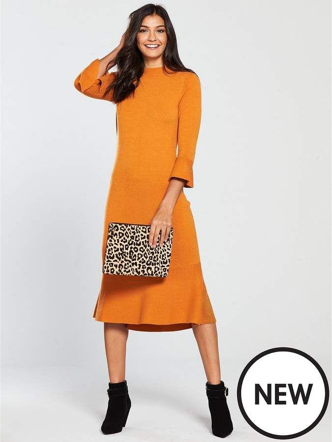 318dd15f9e V By Very Skinny Rib Fluted Hem And Sleeve Knitted Dress - Spicy Orange