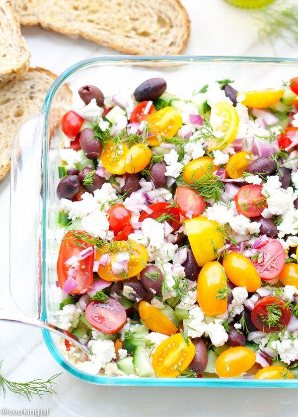 mediterrán zöldségekből összeállított saláta