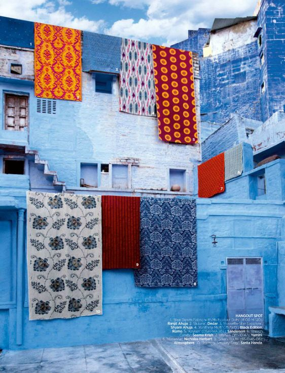 These images feature the famous city of Jaipur in the province of Rajasthan, also known as the Sapphire city. Its buildings are all painted shades of brilliant blues. You will also see brilliant shades of pinks and emeralds. My favorite fabric designer Tricia Guild of Designers Guild has interpreted these sensibilities in a way that is unexpected and a modern interpretation of a vital visual heritage