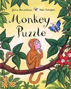 Monkey Puzzle by Julia Donaldson and Axel Scheffler.  A very colourfully illustrated tale about a little monkey who has become separated from his mum.  There is a happy ending naturally!