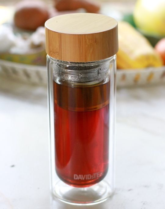 "David's Tea ""Nobel Glass"" double-walled travel tea infuser / thermos with bamboo lid.  Gorgeous!  Love the glass + wood look"