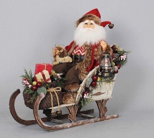 Lighted Vintage Woodland Sleigh Sled Santa Claus Figure Karen Didion. Great holiday decor piece. The lantern has a flickering light. #TreasureJourneys #SantaClaus #ChristmasDecor