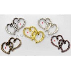 Διακοσμητικη Διπλή Καρδιά για Μπομπονιερά Γάμου Διάσταση: 3x2.5cm