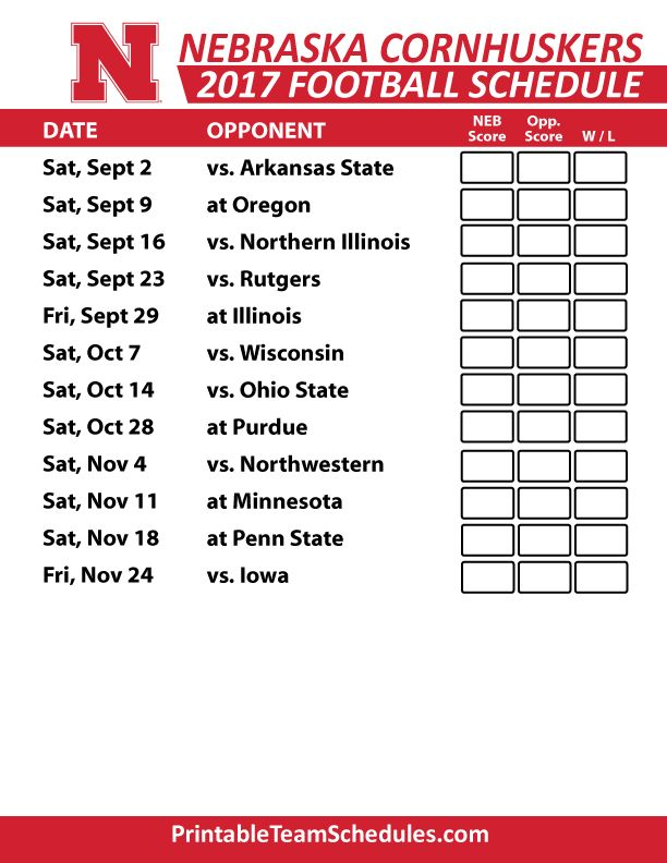 2017 Nebraska Cornhuskers Football Schedule