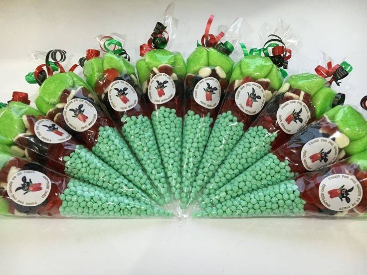 LARGE BING BUNNY THEMED PRE FILLED SWEET CONES KIDS PARTY BAGS PERSONALISED