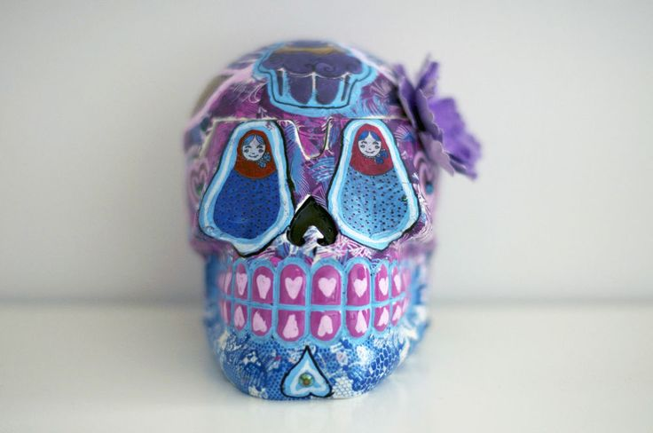 Cassiel Up-Cycled Sugar Skull Box by Sugarskills artist Izzy Cammareri