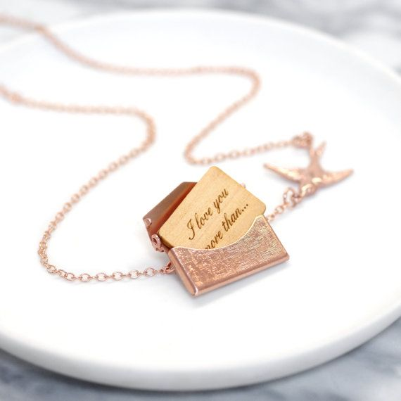 Rose Gold Locket Necklace, Rose Gold Jewellery, Wedding Jewellery, Bridesmaid Gift, Personalised Rose Gold Mini Love Letter Necklace