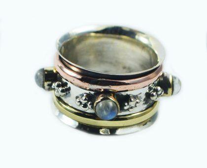 Melanie Woods World Jewellery Moonstone multi metal spinner ring