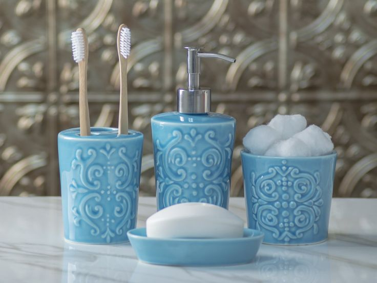Designer 4-Piece Ceramic Bath Accessory Set by Comfify | Includes Liquid Soap or Lotion Dispenser w/ Premium Metal Pump, Toothbrush Holder, Tumbler, Soap Dish | Vintage Damask | Aqua Blue -The perfect blend of elegant luxury design, high-quality materials, and superior functionality