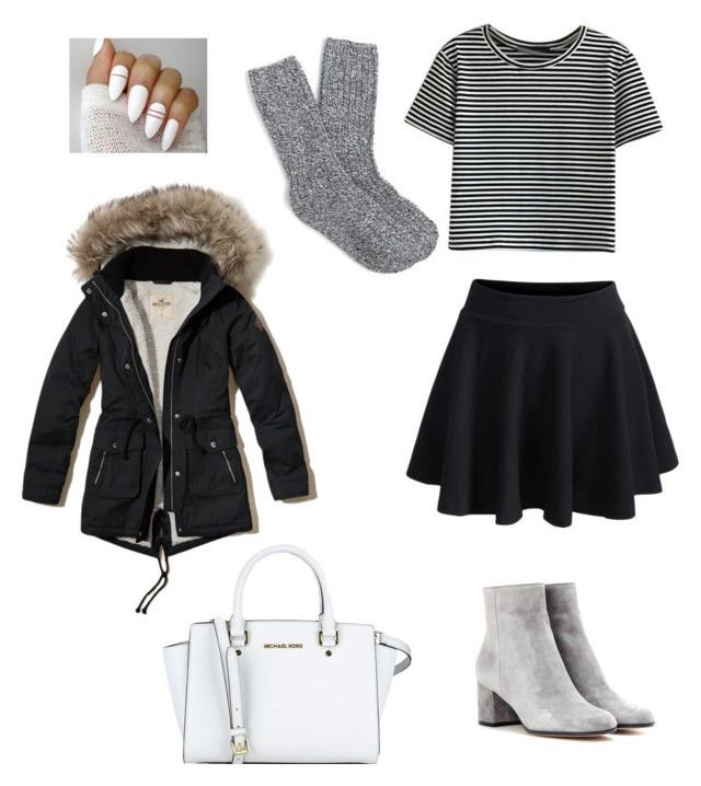 """""""Get ready for winter❄️"""" by polyvorefashionxox ❤ liked on Polyvore featuring WithChic, Gianvito Rossi, J.Crew and Hollister Co."""