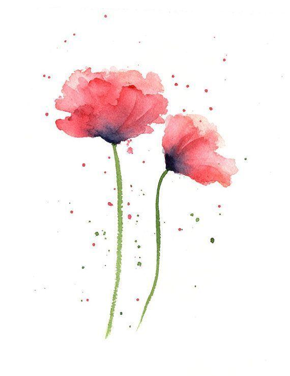 Mohnblumen Kunstdruck Rote Blume Wand Dekor Floral Aquarell In
