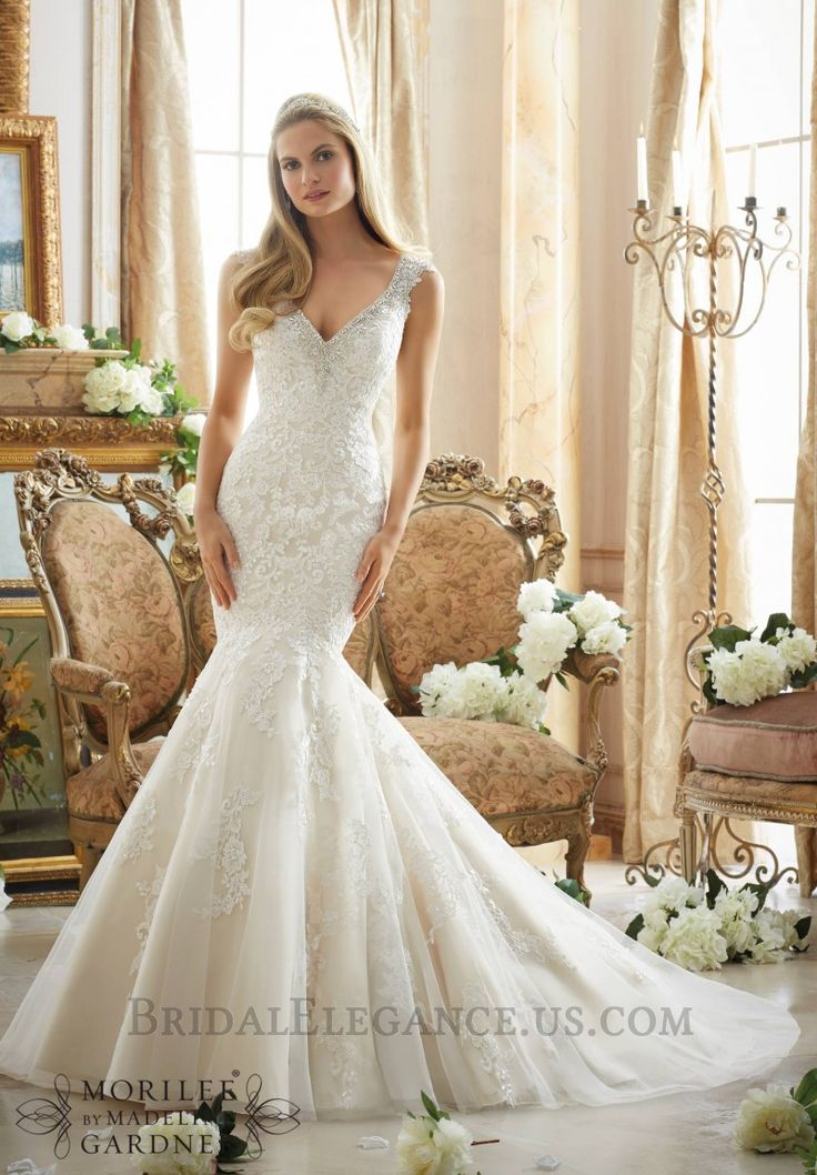 low cost wedding dresses in atlantga%0A Lovely Lace  u     Tulle Trumpet Silhouette Wedding Gown   Bridal Elegance
